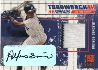 2003 Donruss Elite Throwback Threads Autographs #12 Alfonso Soriano/5