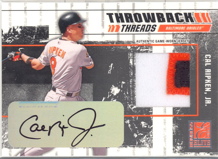 2003 Donruss Elite Throwback Threads Autographs #86 Cal Ripken/15