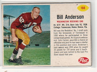 1962 Post Cereal #188 Bill Anderson SP