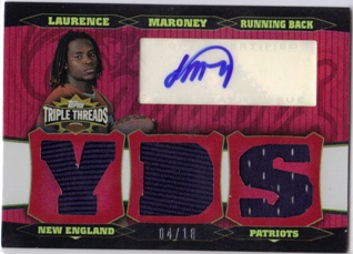 2006 Topps Triple Threads Autographed Relic Red #60 Laurence Maroney