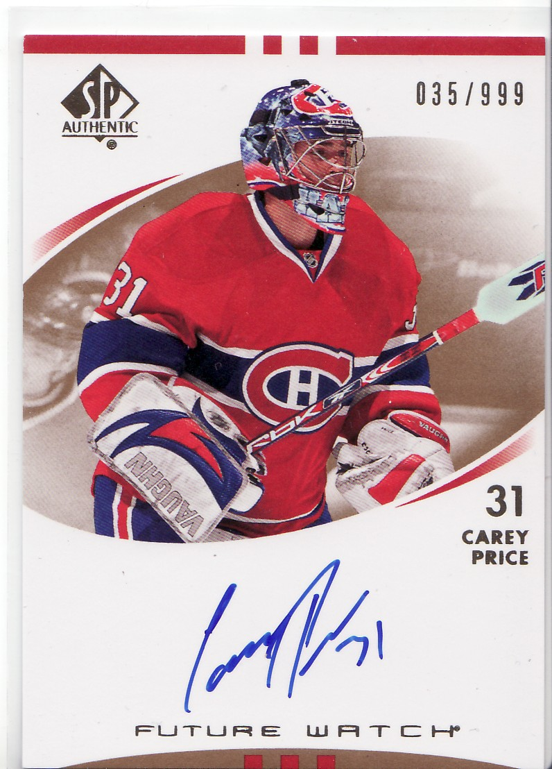 2007-08 SP Authentic #225 Carey Price AU RC