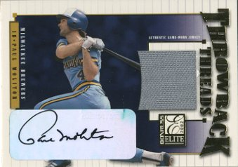 2002 Donruss Elite Throwback Threads Autographs #31 Paul Molitor/15