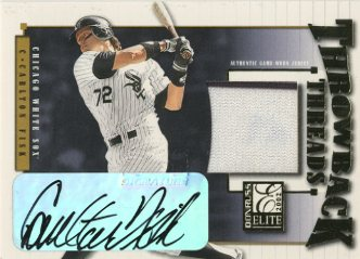 2002 Donruss Elite Throwback Threads Autographs #47 Carlton Fisk White Sox/10