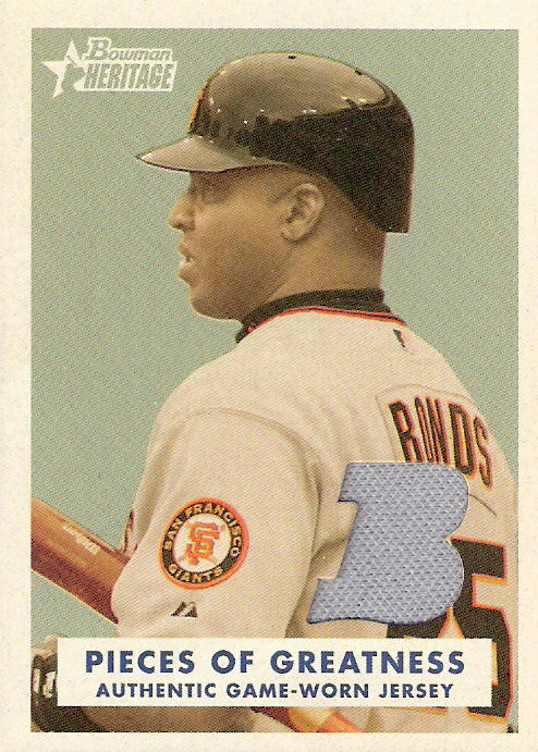 2006 Bowman Heritage Pieces of Greatness White #BB Barry Bonds Jsy