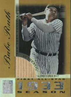 2003 Topps Tribute Perennial All-Star Relics Gold #BR Babe Ruth Bat