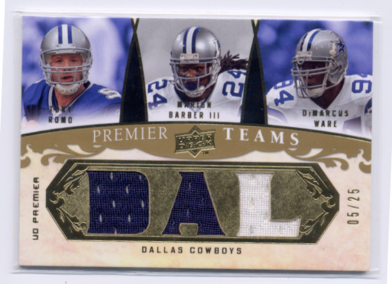 2008 Upper Deck Premier Teams Jersey Team Initials #RWB Tony Romo/Marion Barber III/DeMarcus Ware