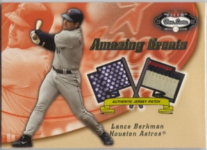 2002 Fleer Box Score Amazing Greats Patch #1 Lance Berkman