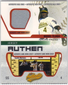 2003 Fleer Authentix Game Jersey #MT Miguel Tejada