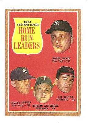 1962 Topps #53 AL Home Run Leaders/Roger Maris/Mickey Mantle/Jim Gentile/Harmon Killebrew front image