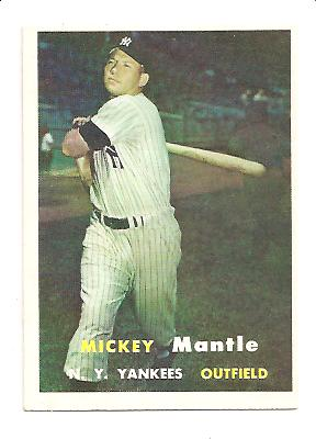 1957 Topps #95 Mickey Mantle front image