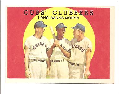 1959 Topps #147 Cubs Clubbers/Dale Long/Ernie Banks/Walt Moryn