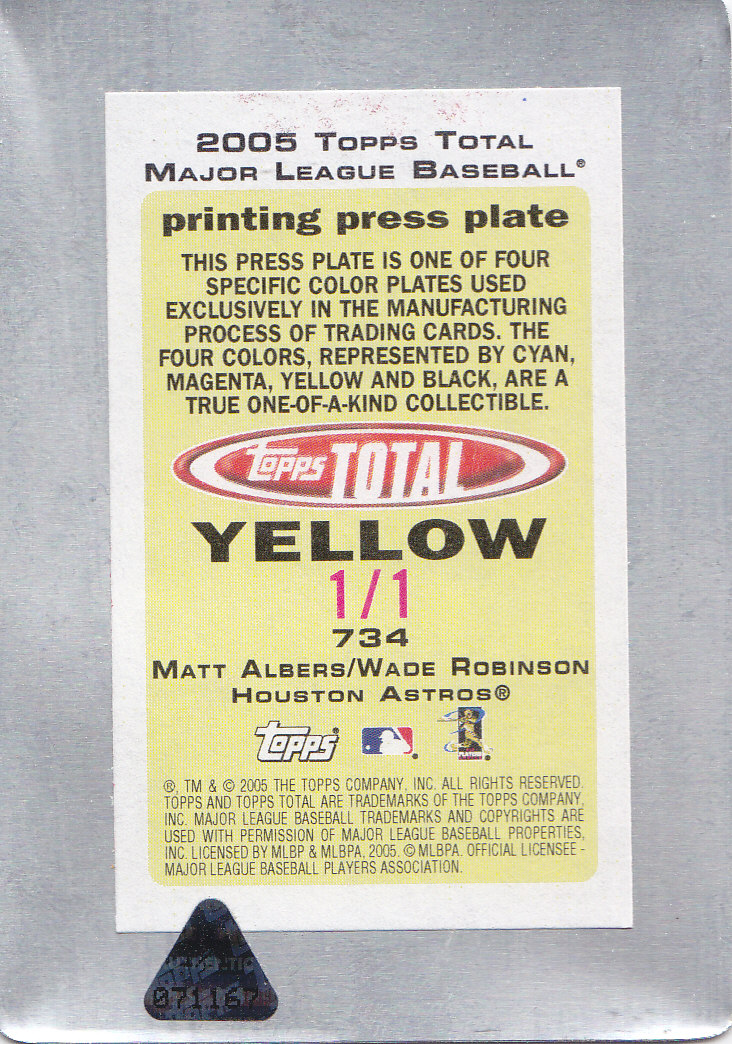 2005 Topps Total Press Plates Yellow Back #734 M.Albers/W.Robinson