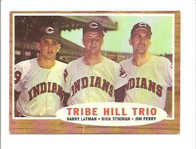 1962 Topps #37 Tribe Hill Trio/Barry Latman/Dick Stigman/Jim Perry
