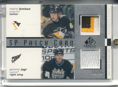 2001-02 SP Game Used Patches #CPLJ Mario Lemieux/Jaromir Jagr