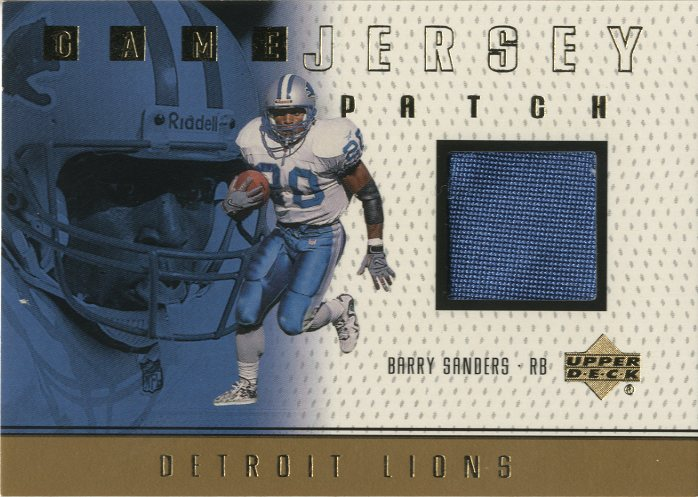 1999 Upper Deck Game Jersey Patch #BSP Barry Sanders