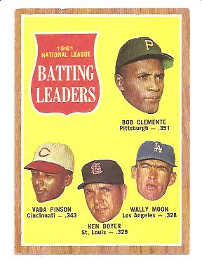 1962 Topps #52 NL Batting Leaders/Roberto Clemente/Vada Pinson/Ken Boyer/Wally Moon front image