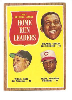 1962 Topps #54 NL Home Run Leaders/Orlando Cepeda/Willie Mays/Frank Robinson