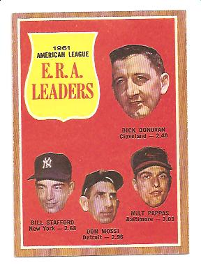 1962 Topps #55 AL ERA Leaders/Dick Donovan/Bill Stafford/Don Mossi/Milt Pappas