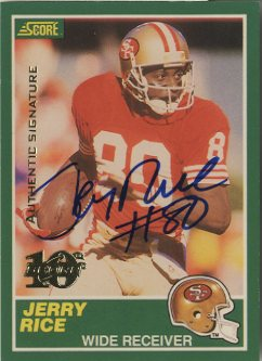 1999 Score 10th Anniversary Reprints Autographs #13 Jerry Rice front image
