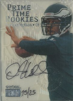 1999 SkyBox Premium Prime Time Rookies Autographs #10PR Donovan McNabb