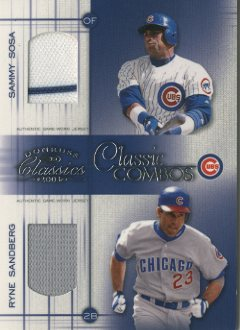 2003 Donruss Classics Classic Combos #6 Ryne Sandberg Jsy/Sammy Sosa Jsy/25