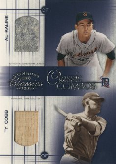 2003 Donruss Classics Classic Combos #11 Al Kaline Jsy/Ty Cobb Bat/25