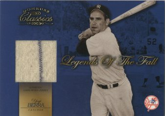 2003 Donruss Classics Legends of the Fall Fabrics #5 Yogi Berra/15