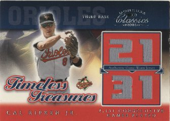 2002 Donruss Classics Timeless Treasures #15 Cal Ripken 2131 Jsy/25