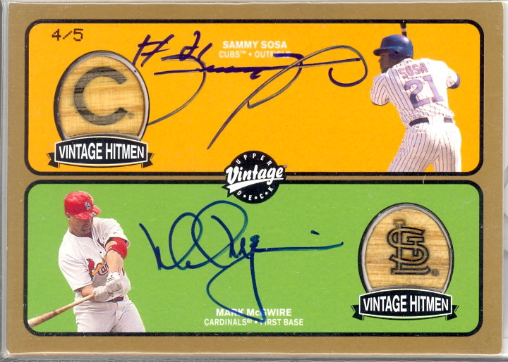 2003 Upper Deck Vintage Hitmen Double Signed Gold #MS Mark McGwire/Sammy Sosa