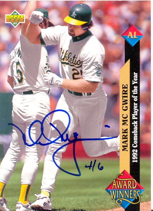 2002 Upper Deck 40-Man Mark McGwire Autograph Buybacks #8 Mark McGwire 93 AW/6
