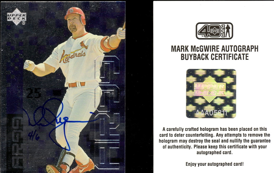 2002 Upper Deck 40-Man Mark McGwire Autograph Buybacks #23 Mark McGwire 99 AR/6