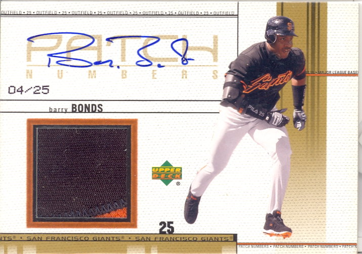 2002 Upper Deck Game Jersey Patch Autograph #SPNBB Barry Bonds N