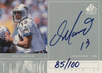 1998 SP Authentic Player's Ink Silver #DM Dan Marino