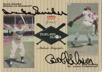 2002 Greats of the Game Dueling Duos Autographs #5 D.Snider/B.Gibson