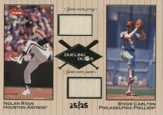 2002 Greats of the Game Dueling Duos Game Used Double #9 Steve Carlton Jsy/Nolan Ryan Jsy