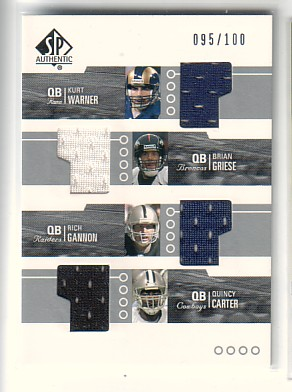 2002 SP Authentic Threads Quads #WG Warn/Gries/Gann/Cart
