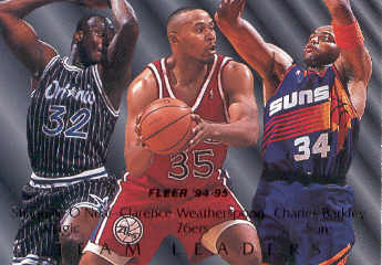 1994-95 Fleer Team Leaders #7 Shaquille O'Neal/Clarence Weatherspoon/Charles Barkley