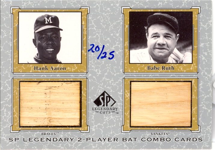 2001 SP Legendary Cuts Game Bat Combo #HABR Hank Aaron/Babe Ruth