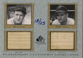 2001 SP Legendary Cuts Game Bat Combo #JCBD Joe Cronin/Bobby Doerr