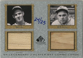 2001 SP Legendary Cuts Game Bat Combo #MOBT Mel Ott/Bill Terry