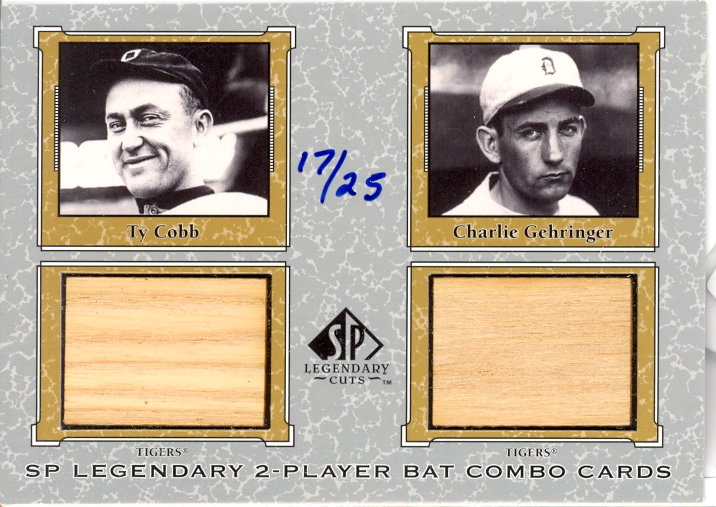 2001 SP Legendary Cuts Game Bat Combo #TCCG Ty Cobb/Charlie Gehringer