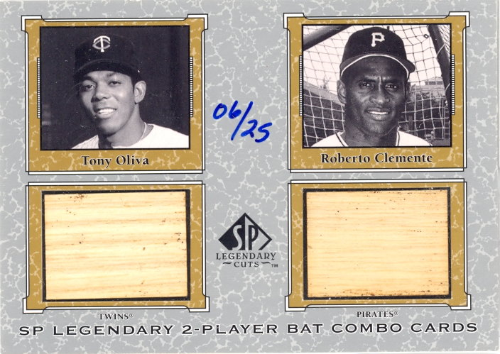 2001 SP Legendary Cuts Game Bat Combo #TORC Tony Oliva/Roberto Clemente