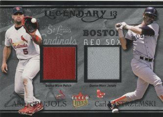 2004 Ultra Legendary 13 Dual Game Used Platinum #APCY Albert Pujols Patch/Carl Yastrzemski Jsy