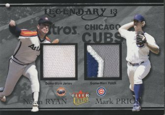 2004 Ultra Legendary 13 Dual Game Used Platinum #NRMP Nolan Ryan Patch/Mark Prior Patch