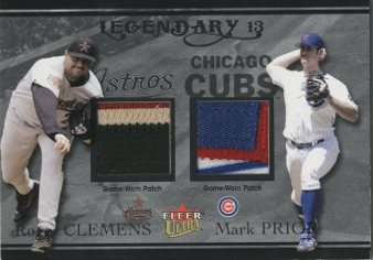 2004 Ultra Legendary 13 Dual Game Used Platinum #RCMP Roger Clemens Patch/Mark Prior Patch