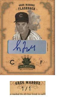 2004 Diamond Kings DK Signatures Gold Sepia #156 Greg Maddux FB/1