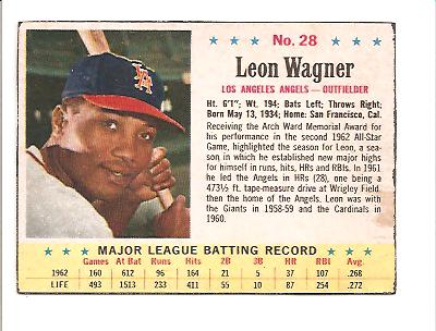 1963 Post #28B L.Wagner (BA: .272)