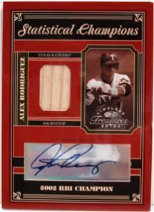 2004 Timeless Treasures Statistical Champions Signature #66 A.Rodriguez 02 RBI Bat/10