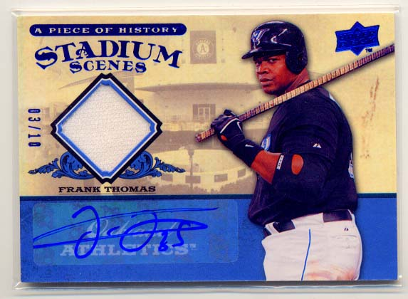 2008 UD A Piece of History Stadium Scenes Jersey Autographs #SS50 Frank Thomas/10