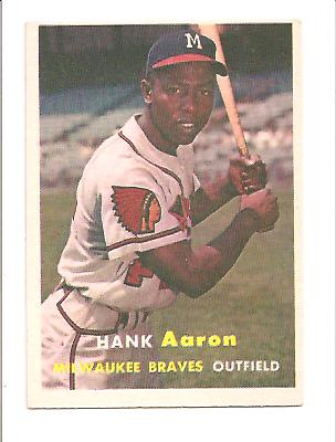1957 Topps #20 Hank Aaron UER/(Reverse negative/photo on front) front image